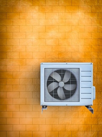 3d illustration of the air conditioner installed on a brick wall. Stock Photo