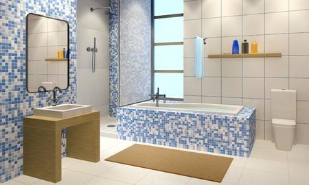 3d illustration of the modern bathroom interior