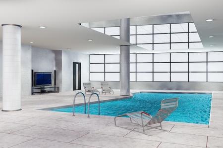 3d illustration of modern indoors swimming pool illustration