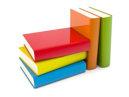 row: 3D illustration of color books on white background