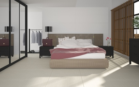 3d illustration of modern bedroom illustration