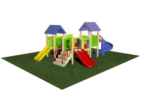 3D Illustration of motley playground on green grass Stock Illustration - 10390360