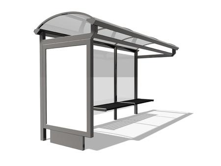 3d illustration of Bus stop on the white background illustration