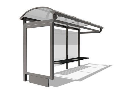 public transportation: 3d illustration of Bus stop on the white background