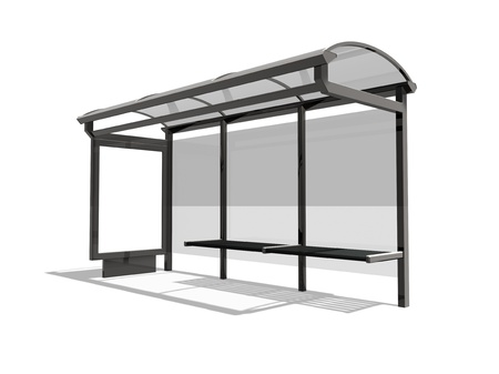 3d illustration of Bus stop on the white background illustration