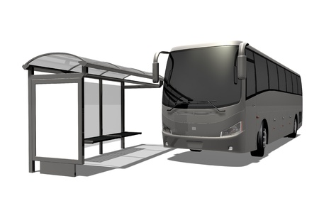 3d illustration of Bus stop on the white background