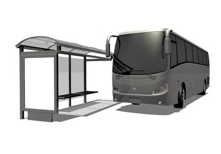 passenger buses: Ilustración 3D de la parada de autobús en el fondo blanco Foto de archivo