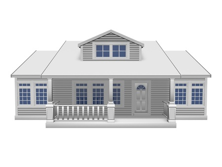 front porch: 3D illustration of small house on white background