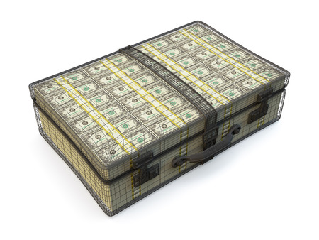 onehundred: Suitcase full of american one-hundred dollar bills  Stock Photo
