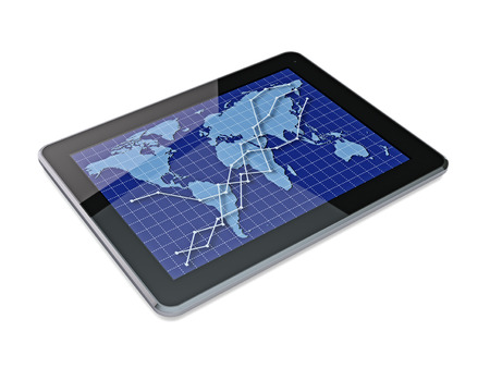 Tablet PC with graph. Made in 3D. photo