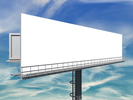 informing: 3d illustration of empty Billboard against blue cloudy sky