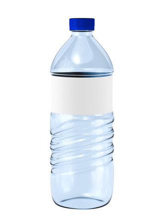 bottle label: Water bottle with blank label on white. Stock Photo
