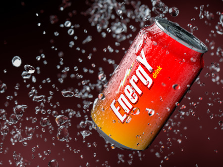 non alcoholic beverage: 3d illustration of energy drink. Shallow depth of field.