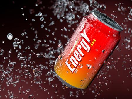 3d ilustración de la bebida energética. Poca profundidad de campo.
