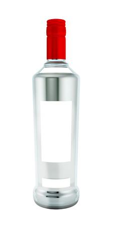 vodka bottle: A bottle of vodka on a white background.