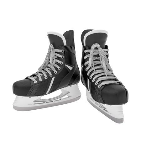patinaje sobre hielo: 3d ilustraci�n de patines de hielo en el fondo blanco