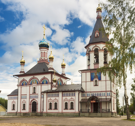 rebuilt: Znamenskaya Church in Pereslavl Zalessky. Rebuilt on the ruins. Stock Photo