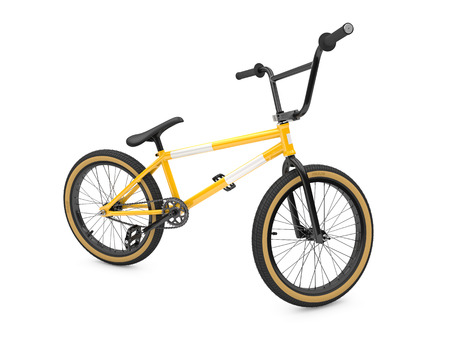 sport object: 3d illustration of yellow sports Bike on white Stock Photo