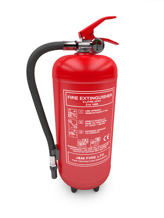 safeguarding: 3d illustration of Fire extinguisher on white