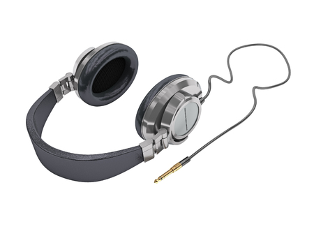 personal accessory: 3d illustration of stereo headphones on white Stock Photo