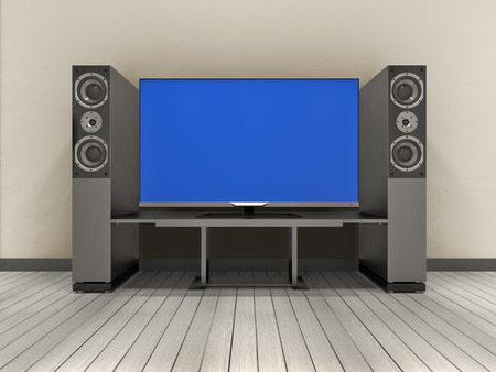 home theater: 3d illustration of modern home theater system