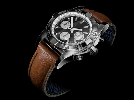 chronograph: 3d illustration of Modern Wristwatch on black Stock Photo