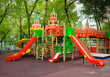Childrens playground in the Moscow courtyard, Russia. Stock Photo