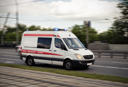 The ambulance car hastens for the aid