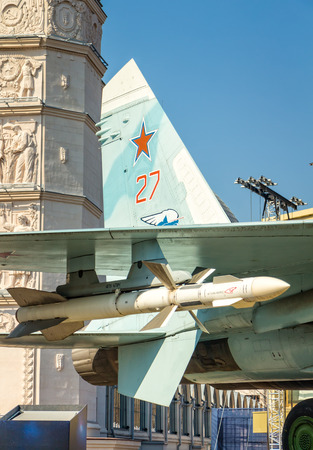 RUSSIA, MOSCOW - APRIL 15, 2018: A fragment of the wing of the su-27 fighter with missile weapons at the VDNKh exhibition in Moscow.