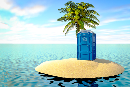 3d illustration of a portable bio toilet with a free wifi symbol on an uninhabited island in the ocean.
