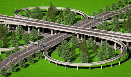 3d illustration of road multilevel transport interchanges.