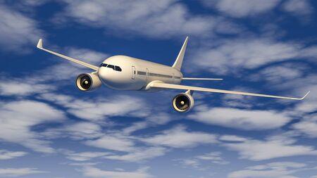 Passenger plane flying in the blue sky.