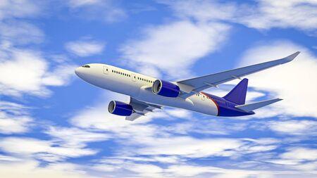 Passenger plane flying in the blue sky. 免版税图像