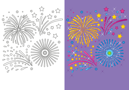 Vector illustration of Christmas fireworks for coloring page for kids