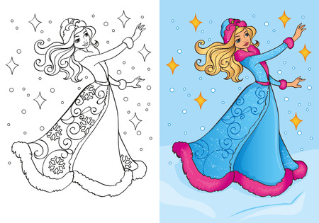 Vector illustration of Snow Maiden in traditional costume for coloring page for kids