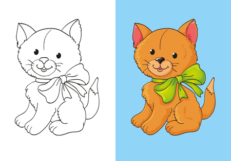 Vector illustration cute red kitten with green bow for coloring page for kids Illustration
