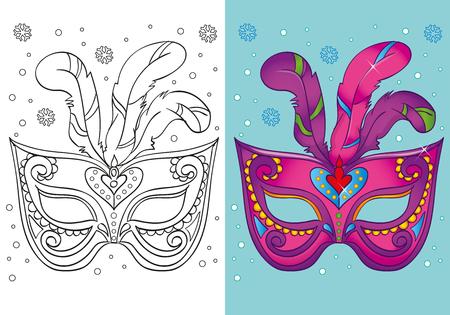 Vektor-Illustration von lila Karneval Maske mit Federn für Malvorlagen für Kinder Standard-Bild - 68493102