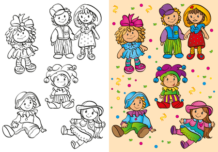black baby boy: Vector illustration different cute rag dolls for coloring page for kids