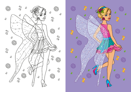 fairy costume: Vector illustration of girl in a fairy costume with a large transparent wings for coloring page for kids