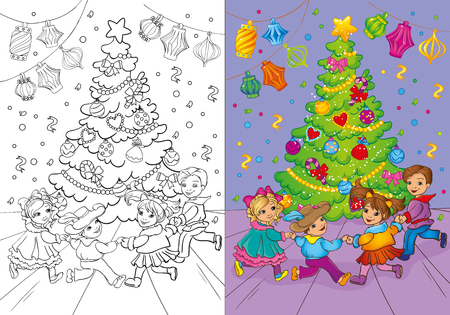 rounde: Vector illustration of Christmas carnival rounde dance for coloring page for kids
