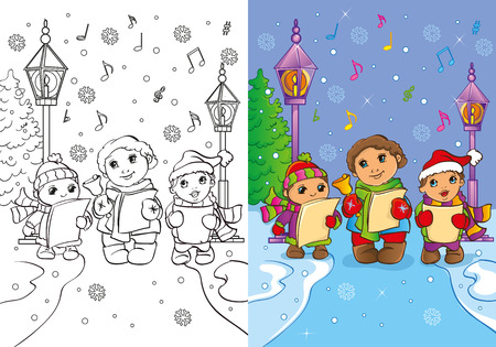 carols: Vector illustration of children sing Christmas carols in the street for coloring page for kids