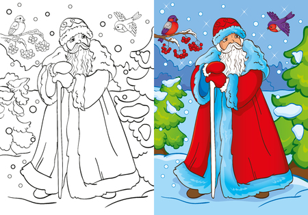 vector vector illustration of santa claus or father frost walking in the forest for coloring page for kids