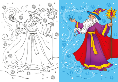 snowstorm: Vector illustration of magician  in a long coat conjures a snowstorm for coloring page for kids