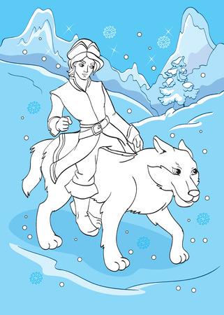 Ilustración Vectorial De Príncipe Monta Un Caballo En La Noche Para ...
