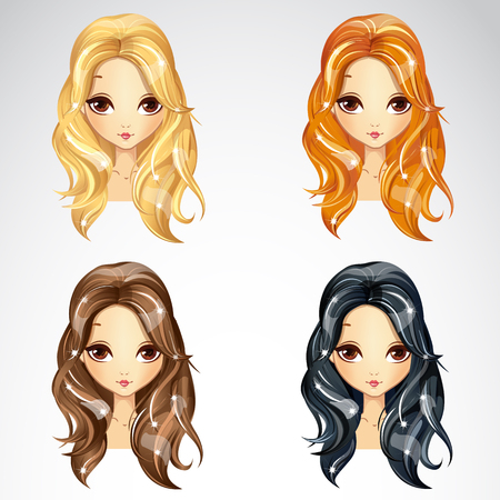 Vector illustration of beautiful babetta hair set for girls