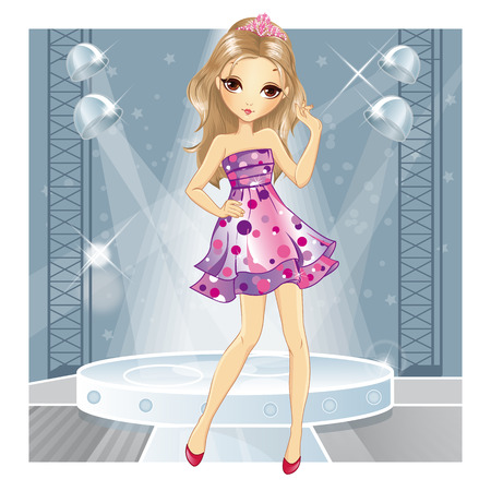 club dress: Beautiful fashionable blonde girl in pink evening dress dancing in the club
