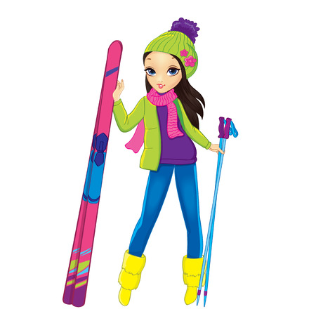 Vector illustration of brunette girl in winter clothes standing with skis Illustration