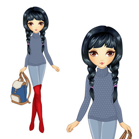 Vector illustration of brunette girl in red boots holding backpack holding backpack Иллюстрация