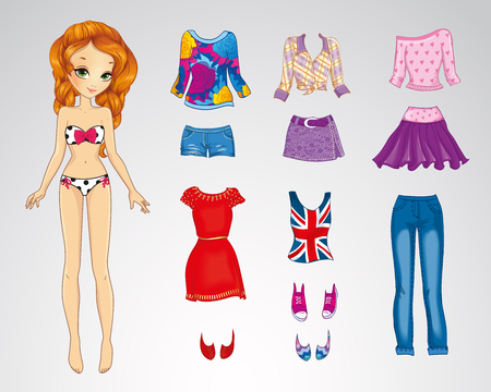 Vector illustration of paper red hair doll and set of casual clothes