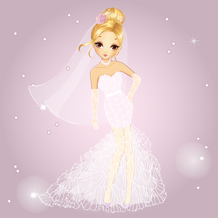 Vector illustration of beautiful fashionable blonde girl in a wedding dress Vettoriali